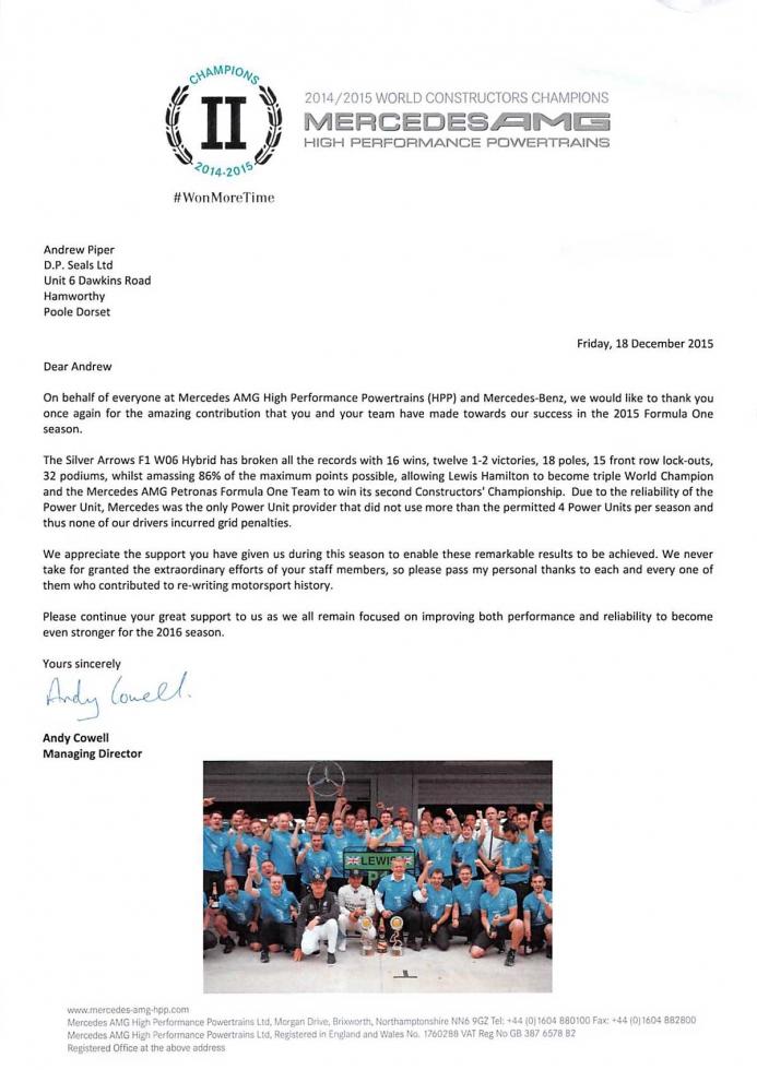 Mercedes AMG 2015 letter