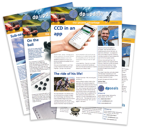 A selection of DP Seals newsletters