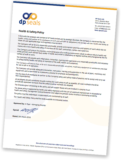 DP Seals Health and Safety Policy