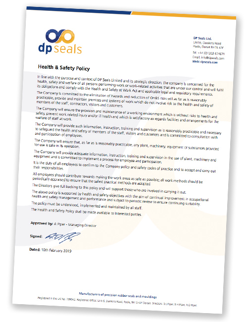 Dp Seals' Health and Safety Policy 10th Feb 2019