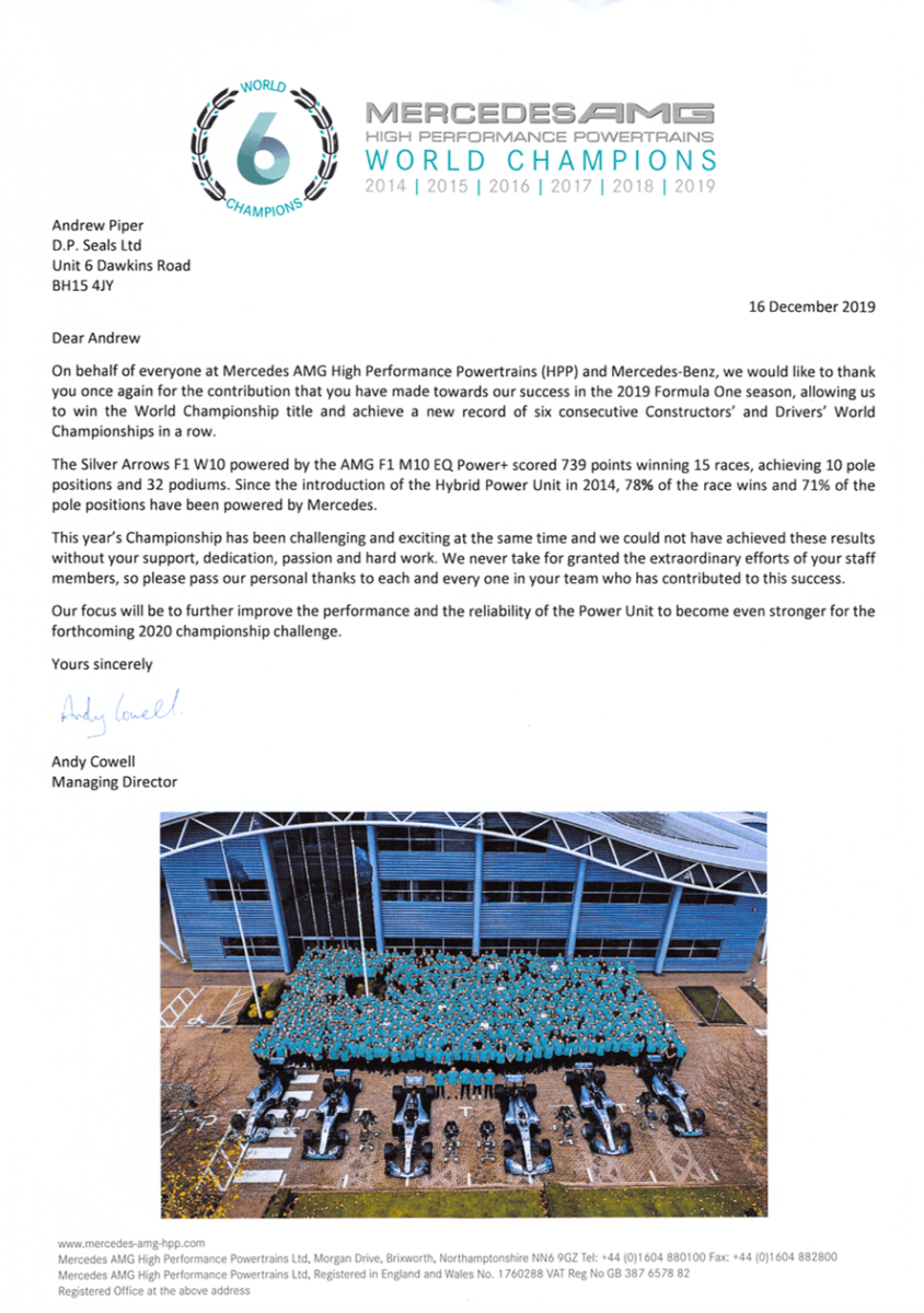 Mercedes AMG 2019 World Champions testimonial letter to DP Seals